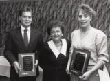 "1990 University of Minnesota Duluth E.L. ""Duce"" Rasmussen Scholar-Athlete awardees Paul Shromoff and Mary Marcella with Lois Rasmussen"