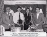 """1993-1994 University of Minnesota Duluth E.L. """"Duce"""" Rasmussen Scholar-Athlete awardees Mike Swanstrom and Mary Dunemann with University of Minnesota Duluth officials"""
