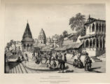 Benares: A Brahmin placing a Garland on the holiest Spot in the sacred City.