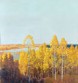 Aspen Forest, with painted foreground glass