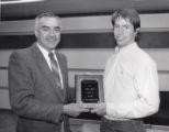 "1987-1988 University of Minnesota Duluth Scholar Athlete E.L. ""Duce"" Rasmussen Scholar-Athlete Award winner Thomas Aney with Athletic Director Bruce McLeod"