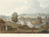 View of the lake and part of the eastern road from Rangoon, taken from the advance of the 7th. Madras Native Infantr