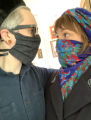 Adeline and Allen wearing face coverings