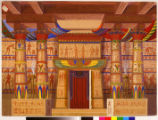Back drop of an Egyptian temple with two practical caryatids