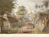 The principal approach to the Great Dagon Pagoda at Rangoon.