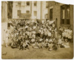 Children from Harlem, New York City, Baptist congregation with flags