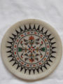 Marble plate inlaid with semi precious stones