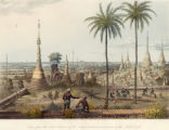 Scene from the upper terrace of the Great Dagon Pagoda at Rangoon, to the south east.