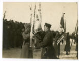 General Radola Gajda of the Czechoslovak Legion during a military ceremony among his troops in Siberia