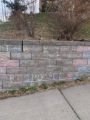 """Chalk drawing on a concrete block wall, reading: """"Thank You Responders"""""""