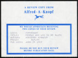Review slip from Alfred A Knopf for People Who Led to My Plays.