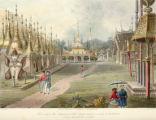 Scene upon the terrace of the Great Dagon Pagoda at Rangoon, looking toward the north.