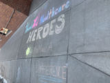 """Chalk drawing at Essentia Health Hospital in Duluth, Minnesota, reading """"Thank You Healthcare Heros, You Make A Difference"""""""