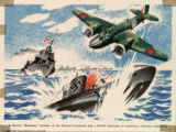 """A British """"Blenheim"""" bomber of the coastal command aids a British destroyer in smashing a German submarine"""