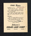 1946 Rate Advertisement for Johnson's Cedar Lake Camp, Quiebell, Ontario, Canada