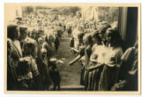 Group of children at guest-welcoming ceremony in Czechoslovakia