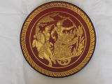 Thai lacquer plate depicting Arjuna and Krishna