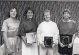 1989 University of Minnesota Duluth Scholar Athletes Ann Patet, Kathy Jedrzejek, and Denise Holm with Linda Larson
