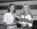 1987-1988 University of Minnesota Duluth Scholar Athlete Tara Haiskanen with Linda Larson