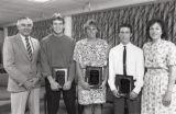 1990 University of Minnesota Duluth Outstanding Senior Athletes Mike Petrich, Kelli Ritzer, and Paul Nisius with University of Minnesota Duluth officials