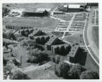 Aerial view of residence halls and football field