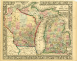 County map of Michigan and Wisconsin