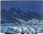 Backdrop depicting waves crashing upon a rocky seashore.