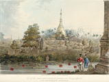View of the Great Dagon Pagoda at Rangoon and scenery adjacent to the westward of the great road.