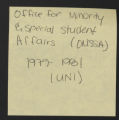Counseling. Office for Minority and Special Student Affairs. (Box 40, Folder 2)