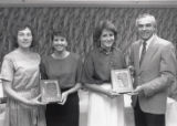 1989 University of Minnesota Duluth Outstanding Senior Athletes Denise Holm and Ann Patet with University of Minnesota Duluth officials