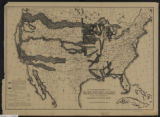 Map of the United States showing the limits within which land grants were made by the federal government to aid in the construction of railroads and wagon roads