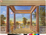 A council-chamber backdrop, depicting open country and the heavens.