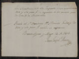Documents and receipts relating to official work. Provenance: Buenos Aires. May 12, 1806.