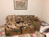 Bagged donations of breakfast food for residents of CHUM's Steve O'Neil Apartments