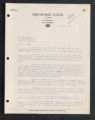 Letter from Arrowhead Lodge to Erwin Oreck, Ray, Minnesota