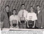 "1992-1993 University of Minnesota Duluth E.L. ""Duce"" Rasmussen Scholar-Athlete awardees Brandi Harkonen, Brett Hauer, and Amy Erickson with University of Minnesota Duluth officials"