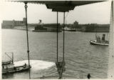 A view toward the harbor (New York?) from aboard the ship USAT (United States Army Transport)