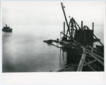 Construction of Glensheen pier and boathouse, looking towards Lake Superior