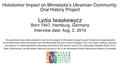 Interview with Lydia Iwaskewycz